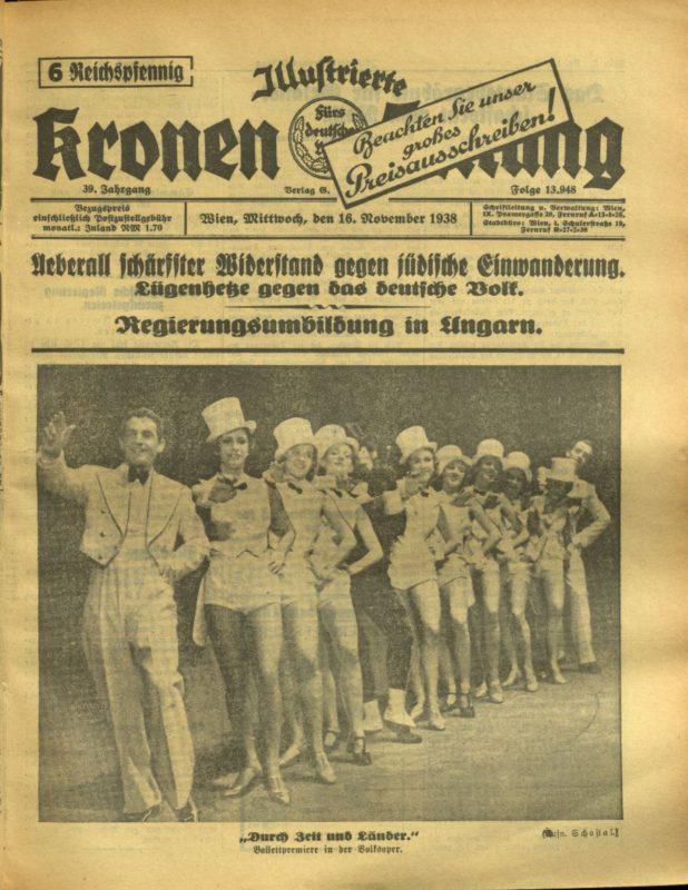 Titelblatt der Kronen Zeitung vom 16. November 1938